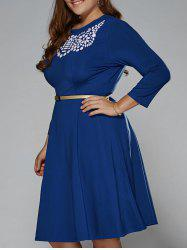 Plus Size Printed Fit and Flare Modest Dress - DEEP BLUE 2XL