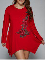 Plus Size Long Sleeve Floral Embroidery Asymmetrical Shift Dress - RED 2XL