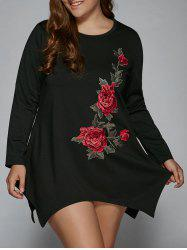 Plus Size Peony Embroidery Asymmetrical Dress