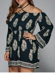 Plus Size Club Printed Halter Off The Shoulder Flare Sleeve Dress - PURPLISH BLUE