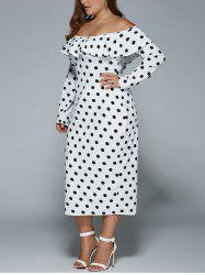 Off-The-Shoulder Polka Dot Vintage Dress - WHITE