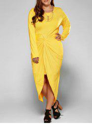 Plus Size Twist Front Tulip Dress - YELLOW 3XL