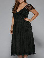 Plus Size Low Cut Empire Waist Lace Prom Dress