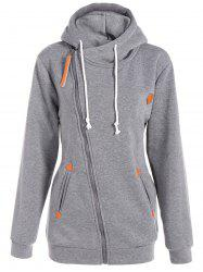 Inclined Zipper Drawstring Plus Size Hoodie - GRAY