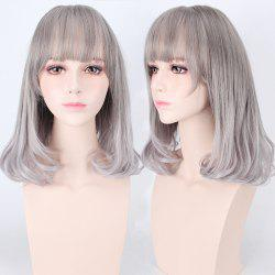 Medium Air Full Bang Tail Adduction Lolita Cosplay Synthetic Wig - DEEP GRAY