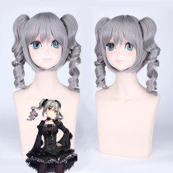 Idolmaster Cosplay Medium Full Bang with Curly Bunches Synthetic Wig