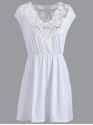 Plus Size Lace Trim Cap Sleeve Casual Dress