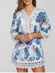 Laciness Paisley Print Cut Out Dress