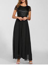 Maxi Lace Top Chiffon Prom Formal Dress - BLACK