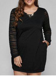 Long Sleeve Lace Spliced Plus Size Dress