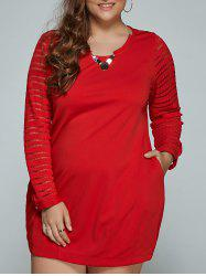 À manches longues en dentelle Spliced ​​Plus Size Dress - Rouge L