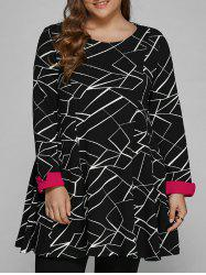 Long Sleeve Geometric Plus Size Dress