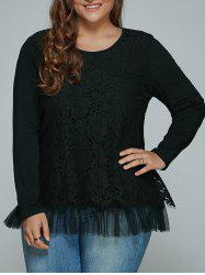 Plus Size Lace Spliced Top Long Sleeve Blouse