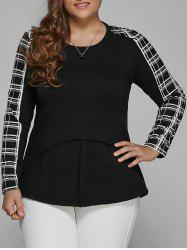 Plus Size Long Sleeve Checked Asymmetric Blouse