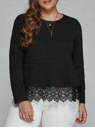 Plus Size Long Sleeve Lace Spliced Blouse -