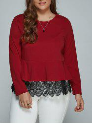 Plus Size Long Sleeve Lace Spliced Blouse