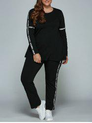 Casual Plus Size Long Sleeve Letter Print T-Shirt + Pants