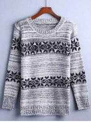 Flower Jacquard Pullover Sweater -