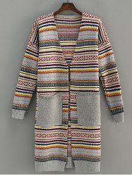 Pocket Design Stripe Jacquard Cardigan
