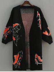 Fish Pattern Jacquard Cardigan -