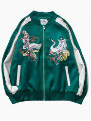 Birds Embroidered Raglan Sleeve Souvenir Jackets -