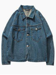 Breast Pocket Raglan Sleeve Button Up Denim Jacket - BLUE