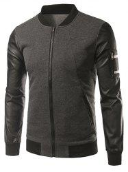 Faux cuir Insert manches Pocket Zip Up Jacket -