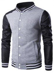 Faux Leather Insert Varsity Striped Button Up Jacket - GRAY