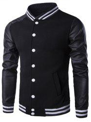 Faux Leather Insert Varsity Striped Button Up Jacket - BLACK