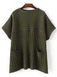 Crew Neck Ribbed Batwing Sweater With Pocket -