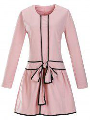 Retro Bow Tie Dropped Waisted Dress - PINK 2XL