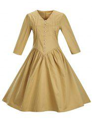 Retro Front Button Flare Tea Length Swing Party Dress -
