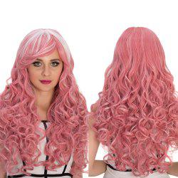 Smoke Pink Highlights Long Inclined Bang Shaggy Wavy Cosplay Synthetic Wig