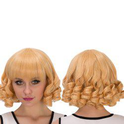 Sparkling Short Curly Full Bang Cosplay Synthetic Wig