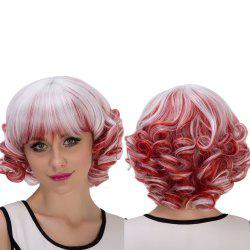 Double Color Short Full Bang Curly Cosplay Synthetic Wig