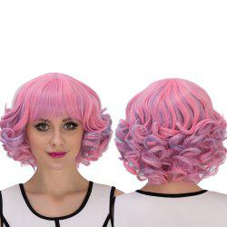 Powder Blue Highlights Short Full Bang Curly Cosplay Synthetic Wig