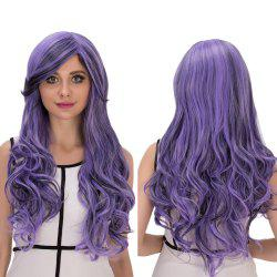 Purple Gradient Long Oblique Bang Wavy Cosplay Synthetic Wig