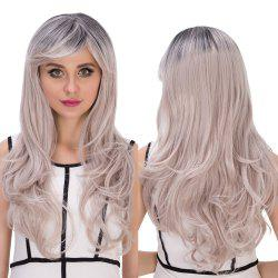 Long Side Bang Wavy Gray Gradient Golden Cosplay Synthetic Wig