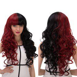 Long Fluffy Full Bang Wavy Double Color Cosplay Synthetic Wig -