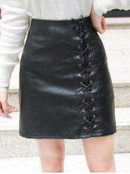 High Waist Lace-Up Faux Leather Skirt - BLACK