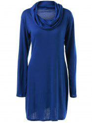 Long Sleeve Plain Slimming Dress - BLUE