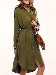 Chic Women's Pure Color Slit Shirt Military Dress