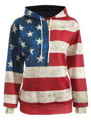American Flag Print Pullover Hoodie - BLUE AND RED