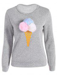 Pompon Ice-Cream Print Pullover Sweatshirt - GRAY
