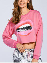 Cropped 3D Lip Print Sweatshirt