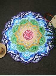 Round Lotus Print Tasseled Beach Throw - PURPLE