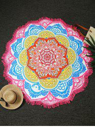 Flower Print Fringed Round Beach Throw - PINK