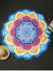 Round Lotus Print Fringed Beach Throw