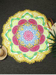 Round Fringed Flower Shape Beach Throw - YELLOW