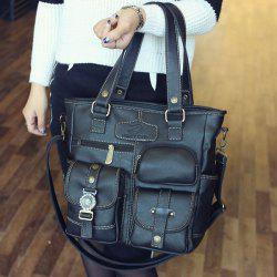 Stitching Pockets Dark Colour Shoulder Bag -